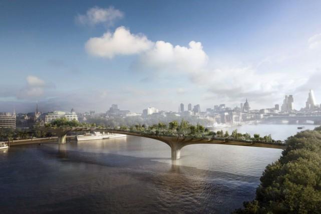 Si la construction de ce pont piéton agrémenté... (PHOTO ARUP, AFP)