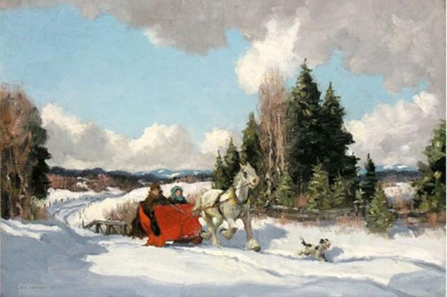The Red Sleigh, du peintre Frederick S. Coburn....