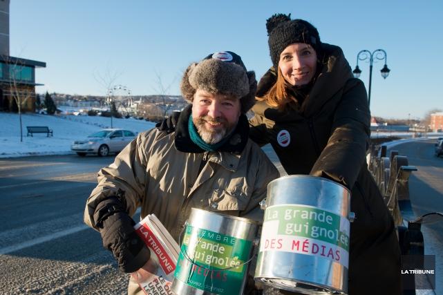 Les journalistes Steve Bergeron et Laura Martin, de... (Imacom, Jessica Garneau)