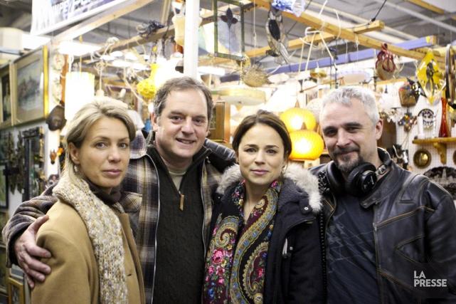 Les comédiens Céline Bonnier, Paul Doucet et Suzanne... (Photo Ninon Pednault, La Presse)
