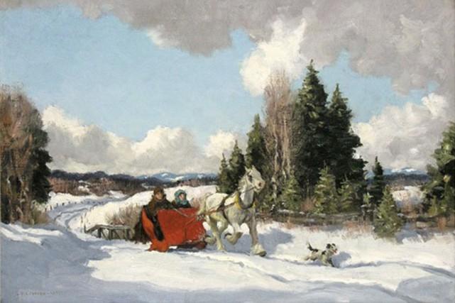 The Red Sleigh, du peintre Frederick S.Coburn....