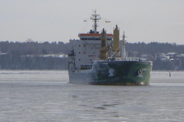 Le Sundaisy E, un navire italien, s'est échoué... (Photo: Michel Roy, Courtoisie)