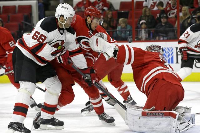 Jaromir Jagr a récolté un but et une passe alors que les Devils du New Jersey... (Photo: AP)