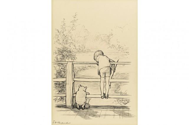 Un dessin à l'encre d'Ernest Howard Shepard ayant servi à illustrer l'un des... (Photo: AFP)