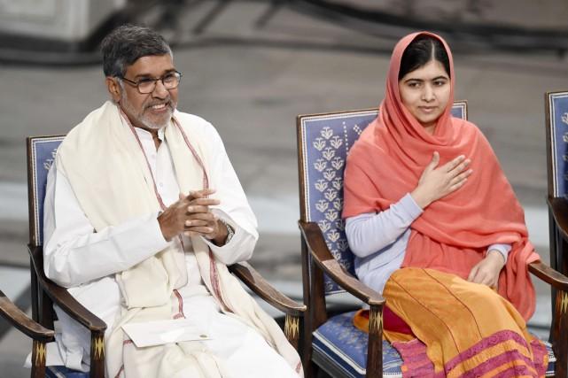 L'adolescente pakistanaise Malala et l'Indien Kailash Satyarthi, colauréats... (PHOTO ODD ANDERSEN, AFP)