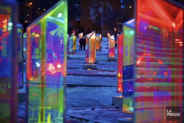 Prismatica est composée de 50 prismes éclairés qui... (Photo: André Pichette, La Presse)