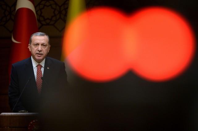 Le président turc Recep Tayyip Erdogan... (PHOTO FILIPPO MONTEFORTE, AFP)