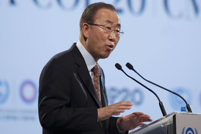 Le secrétaire général de l'ONU Ban Ki-moon... (Photo ENRIQUE CASTRO-MENDIVIL, Reuters)