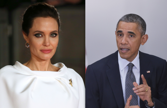 Angelina Jolie et Barack Obama ont été écorchés... (AP et AFP)