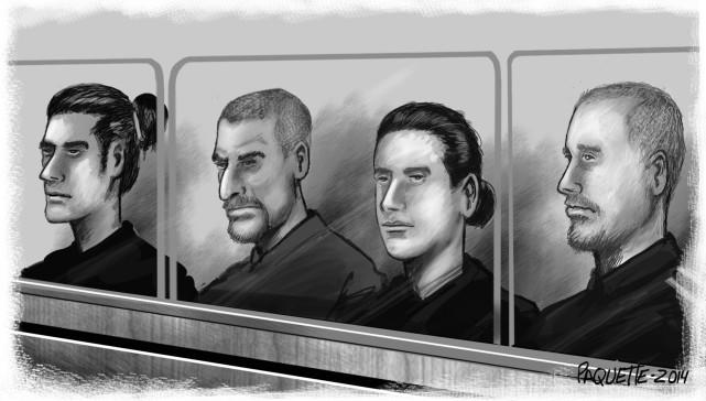 Les accusésAntoine Léger, Brendan d'Anjou O'Meally, Mathieu Bélanger... (Serge Paquette)