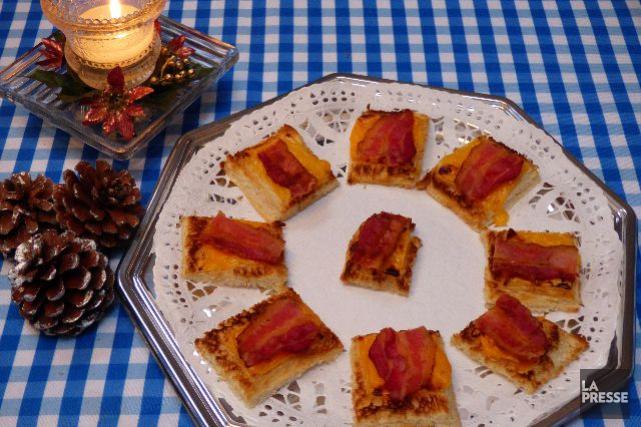 Canapés au fromage et au bacon...
