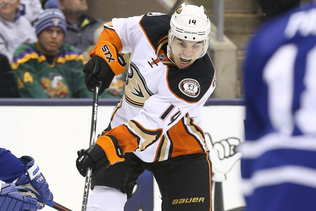 En 12 matchs avec les Ducks, Rene Bourque... (Photo Tom Szczerbowski, USA Today Sports)