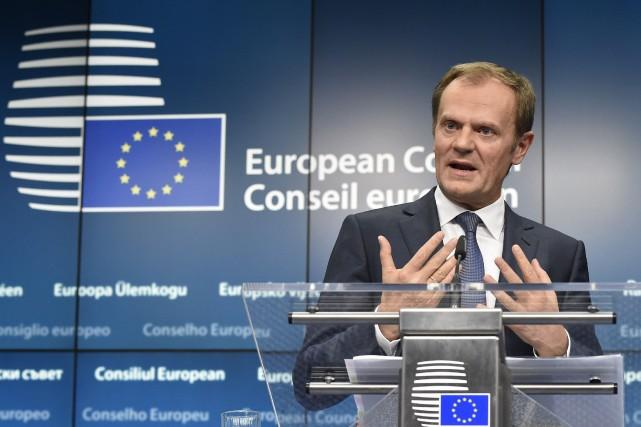 Le président du Conseil européen, le Polonais Donald... (Photo JOHN THYS, AFP)
