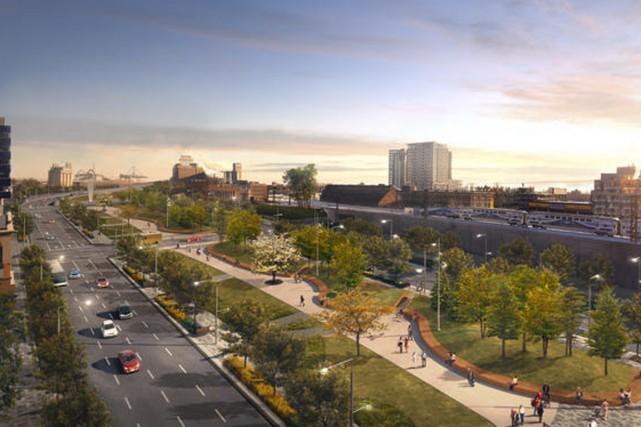 L'implantation du boulevard urbain remplacera l'emprise actuelle de... (Image présentée par la Ville de Montréal)