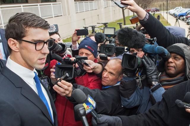 Michael Phelps s'est adressé aux journalistes à sa... (Photo Paul J. Richards, AFP)