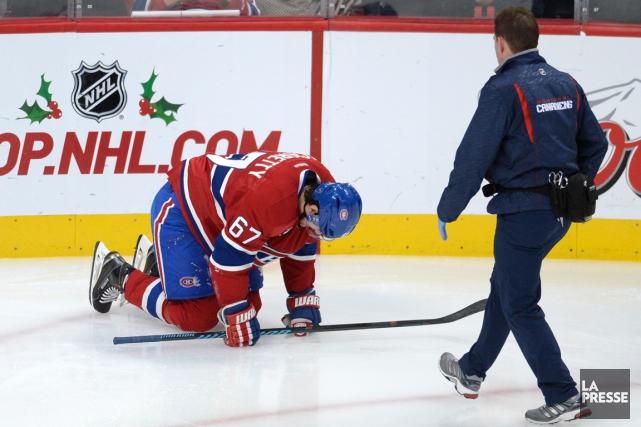MaxPaciorettys'est blessé au haut du corps, jeudi soir,à... (Photo Bernard Brault, La Presse)