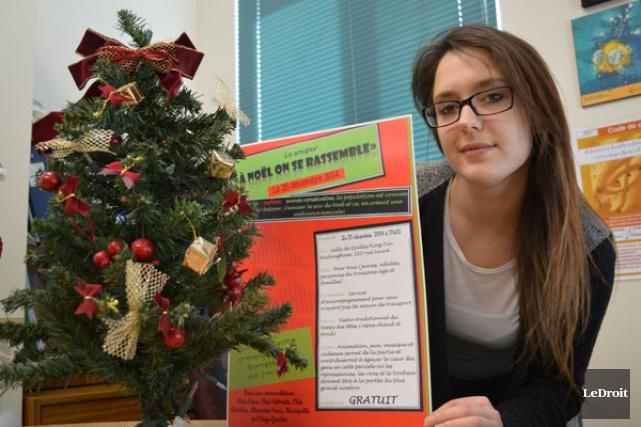 Depuis sept ans, Émilie Barrette consacre sa soirée de Noël aux personnes et... (Étienne Ranger, Ledroit)