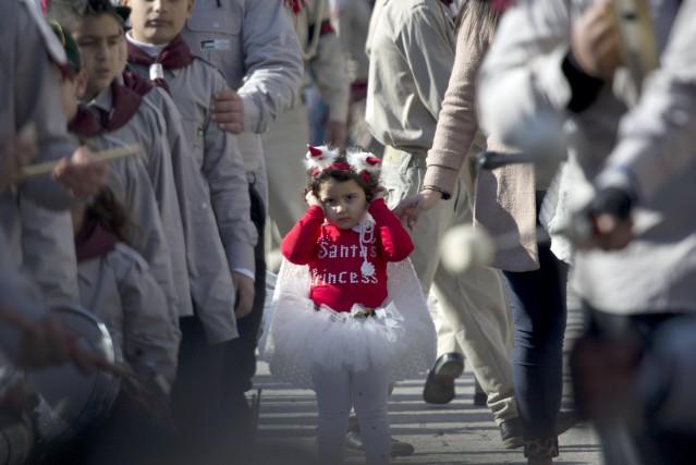 Au pied de la Basilique de la Nativité,... (AP, Majdi Mohammed)