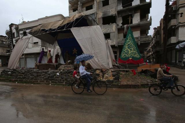 Dans lequartier de Hamidiyé,une crèche a été construite... (PHOTO YOUSSEF KARWASHAN, AFP)