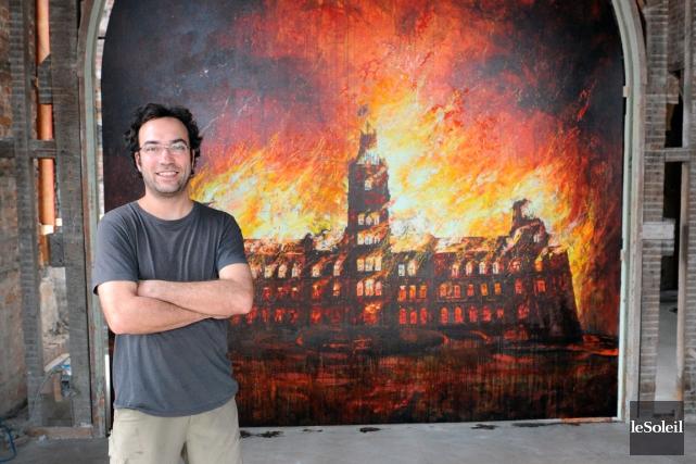 Le fameux tableau de Martin Bureau L'incendie du... (Photothèque Le Soleil, Erick Labbé)
