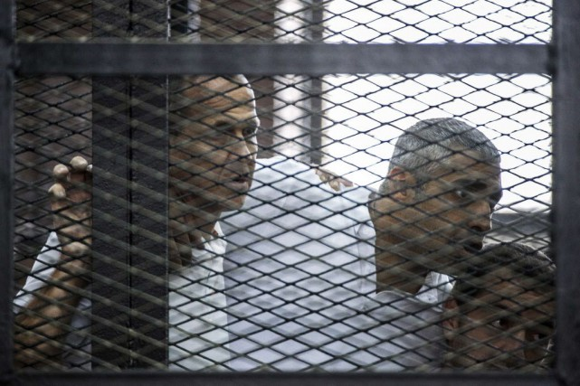 Le Caire accuse les trois journalistes de diffusion... (PHOTO KHALED DESOUKI, Archives AFP)