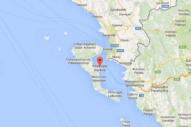 Dans la même zone, au large de Corfou,... (Photo tirée de Google Maps)