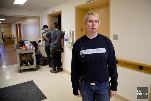 Julie Duchesneau, présidente du syndicat des infirmières et... (Photo David Boily, La Presse)