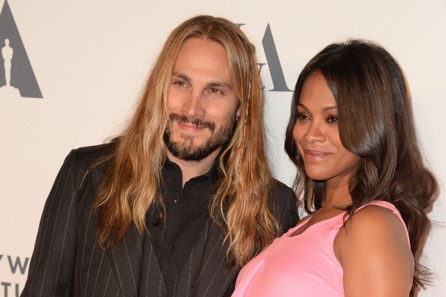 Zoe Saldana et Marco Perego... (Photo ROBYN BECK, Archives AFP)