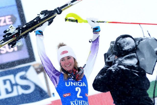 Mikaela Shiffrin, l'étoile américaine de 19 ans, championne... (Photo Pier Marco Tacca, Archives AP)