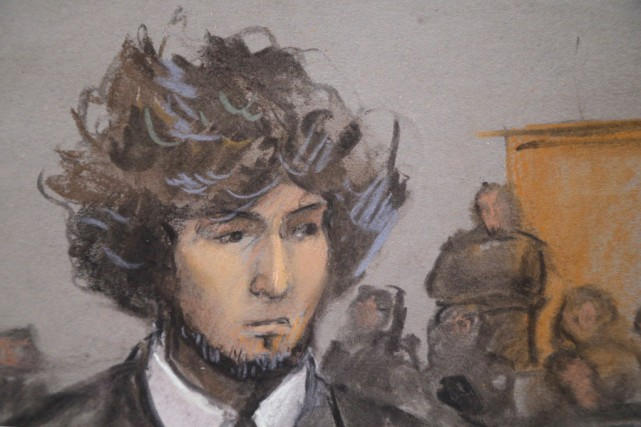 Tsarnaev a plaidé non coupable à 30 accusations... (ILLUSTRATION JANE COLLINS, ARCHIVES REUTERS)