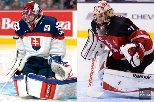 Les gardiens Denis Godla, de la Slovaquie, et... (Photos La Presse et PC)