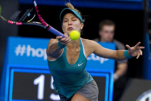 Eugenie Bouchard a signé mardi son premier gain en... (Photo Tony Ashby, AFP)