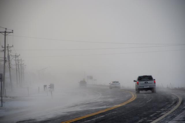 La visibilité est encore réduite sur la route... (Collaboration spéciale Johanne Fournier)