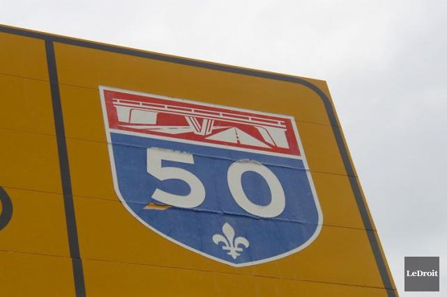 Un carambolage impliquant six véhicules sur l'autoroute 50 est survenu un peu... (Archives, LeDroit)