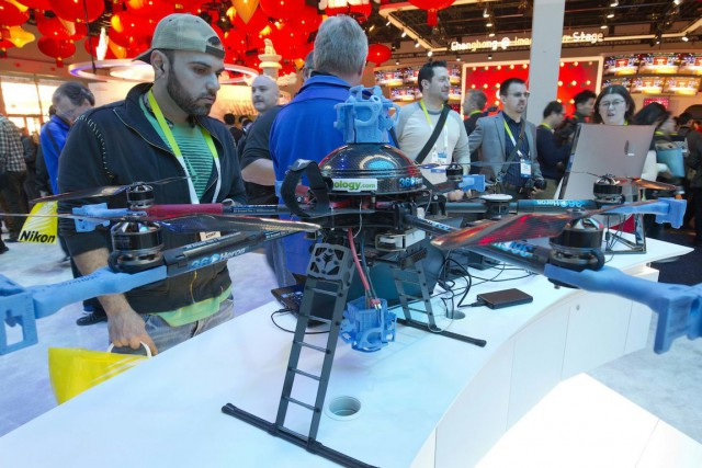 Le drone 360Herosd'Intel est exposéau salon d'électronique de... (Photo Steve Marcus, REUTERS)