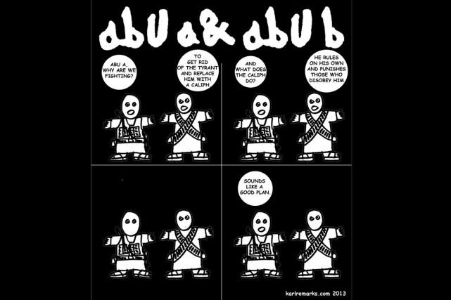 Habitué de se moquer d'Al-Qaïda et du groupe État islamique dans ses... (Caricature fournie par Karl Sharro)
