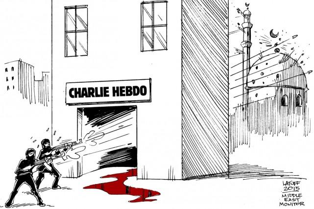 Dans la proposition de Carlos Latuff, publiée par... (Middle East Monitor, Carlos Latuff)