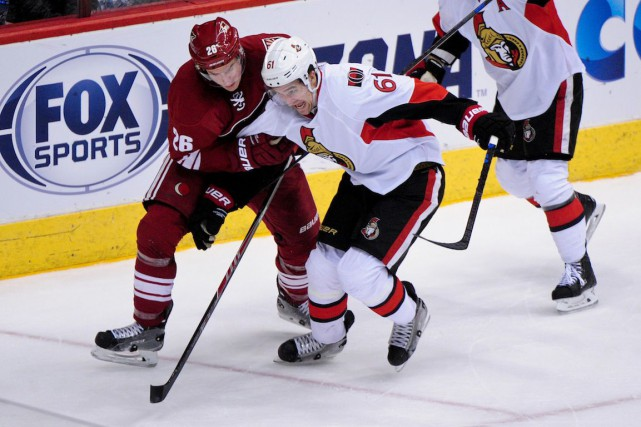 Michael Stone (26) et Mark Stone (61).... (Photo Matt Kartozian, USA TODAY Sports)