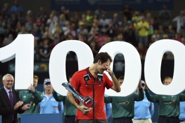 Le Suisse Roger Federer a savouré sa 1000e victoire en carrière en finale du... (Agence France-Presse)