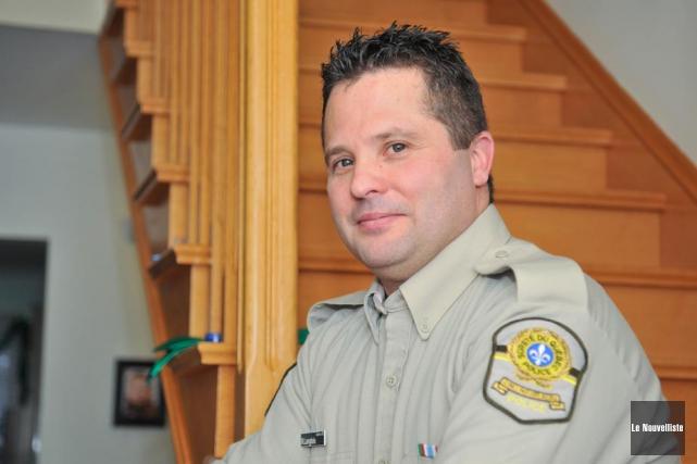 Le policier de la Sûreté du Québec Junior... (Photo: Émilie O'Connor, Le Nouvelliste)