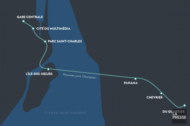 Pour la Rive-Sud, le SLR pourrait s'étendre jusqu'au... (ILLUSTRATION LA PRESSE)