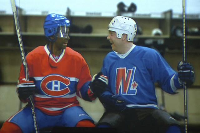 Un comédien blanc, Marc St-Martin, incarne le hockeyeur... (IMAGE TIRÉE D'UNE VIDÉO)