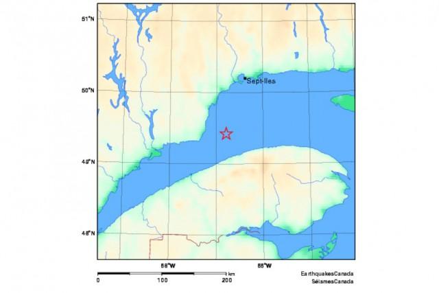 L'épicentre est situé dans le fleuve Saint-Laurent à... (Séismes Canada)