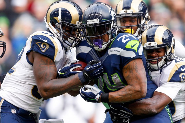 Surnommée Beast Mode, Marshawn Lynch a récolté 1306 verges au... (PHOTO JOE NICHOLSON, ARCHIVES USA TODAY)