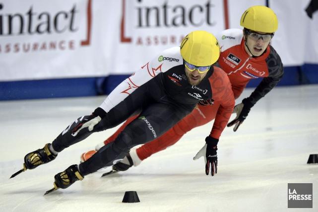 Charles Hamelin (à gauche)... (Photo Bernard Brault, La Presse)