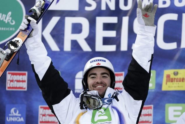 Philippe Marquis, de Québec, célèbre sa deuxième place... (AP, Darko Bandic)