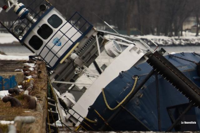 L'incident du bateau-remorqueur qui a sombré dans le... (Photo: François Gervais, Le Nouvelliste)