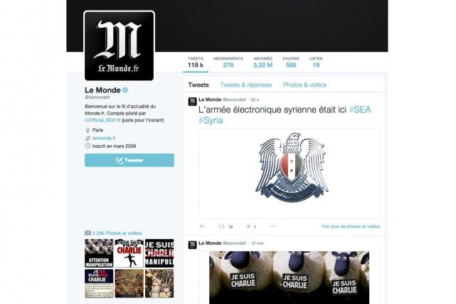 Le compte Twitter du quotidien français Le Monde (3,3 millions... (PHOTO TIRÉE D'INTERNET)
