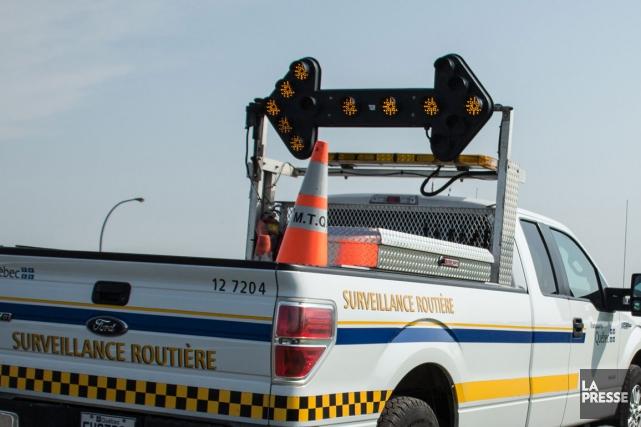 Pour un deuxième matin en autant de jours, l'autoroute 610 en direction du CHUS... (Archives La Presse)