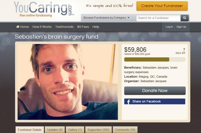 La campagne de financement lancée afin de permettre au Magogois Sébastien... (Capture d'écran)